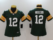 Women Nfl Green Bay Packers #12 Aaron Rodgers Green Vapor Untouchable Limited Jersey