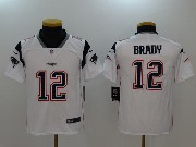 Youth New England Patriots #12 Tom Brady White Vapor Untouchable Limited Jersey