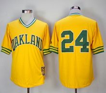 Mens Mlb Oakland Athletics #24 Rickey Henderson Yellow Mitchell&ness Pullover Mesh 1981 Throwbacks Jersey