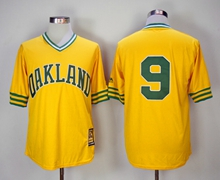 Mens Mlb Oakland Athletics #9 Reggie Jackson Yellow Mitchell&ness Pullover Mesh 1981 Throwbacks Jersey