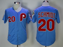 Mens Mlb Philadelphia Phillies #20 Schmidt Blue 1983 Throwbacks Zipper Jersey