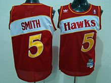 Mens Nba Atlanta Hawks #5 Josh Smith Red Hardwood Throwback Jersesy