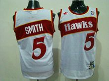 Mens Nba Atlanta Hawks #5 Josh Smith White Hardwood Classics Throwback Jersesy