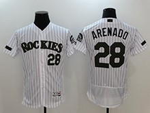 Mens Majestic Colorado Rockies #28 Nolan Arenado White 2017 Memorial Day Flex Base Jersey