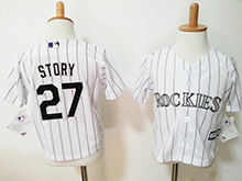 Kids Mlb Majestic Colorado Rockies #27 Trevor Story White Stripe Jersey