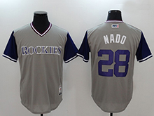 Mens Mlb Colorado Rockies #28 Nolan Arenado ( Nado) Majestic Gray 2017 Players Weekend Authentic Jersey