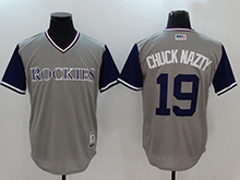 Mens Mlb Colorado Rockies #19 Charlie Blackmon ( Chuck Nazty) Majestic Gray 2017 Players Weekend Authentic Jersey