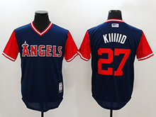 Mens Mlb Los Angeles Angels #27 Mike Trout ( Kiiiiid) Majestic Navy 2017 Players Weekend Authentic Jersey