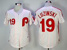 Mens Mlb Philadelphia Phillies #19 Greg Luzinski White(red Strip) 1983 Throwbacks Zipper Jersey