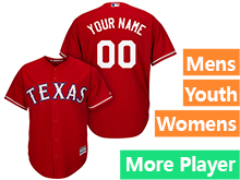 Mens Womens Youth Majestic Texas Rangers Red Cool Base Current Player Jersey