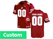Mens Ncaa Nfl Wisconsin Badgers Under Armour Custom Made Red Elite Jersey