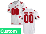 Mens Youth Ncaa Nfl Wisconsin Badgers Under Armour Custom Made White Elite Jersey