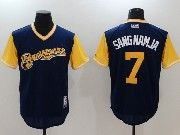 Mens Mlb Milwaukee Brewers #7 Sangnamja Dark Blue 2017 Players Weekend Jersey