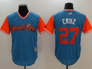 Mens Majestic Miami Marlins #27 Cruz Light Blue 2017 Players Weekend Jersey