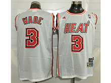 Mens Nba Miami Heat #3 Dwyane Wade White Mesh Jersey