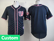 Mens Womens Youth Mlb Washington Nationals (custom Made) Drak Blue Cool Base Jersey