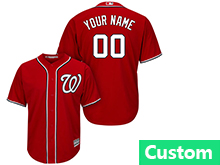 Mens Womens Youth Mlb Washington Nationals (custom Made) Red Cool Base Jersey