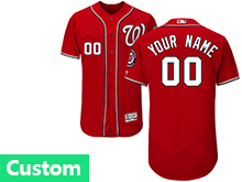 Mens Mlb Washington Nationals (custom Made) Red Flex Base Jersey
