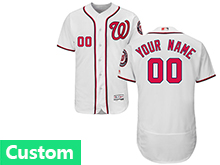 Mens Mlb Washington Nationals (custom Made) White Flex Base Jersey