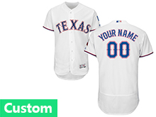 Mens Majestic Mlb Texas Rangers (custom Made) White Flex Base Jersey