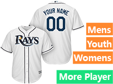 Mens Womens Youth Majestic Tampa Bay Rays White Cool Base Current Player Jersey