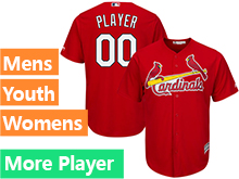 Mens Womens Youth Majestic St. Louis Cardinals Red Cool Base Current Player Jersey