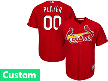 Mens Womens Youth Mlb St.louis Cardinals Custom Made Red Cool Base Jersey