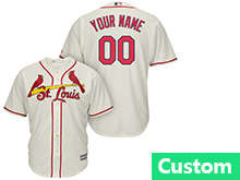 Mens Womens Youth Mlb St.louis Cardinals Custom Made Cream Cool Base Jersey