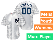 Mens Womens Youth Majestic New York Yankees White Stripe Cool Base Current Player Jersey