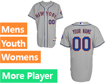 Mens Womens Youth Majestic New York Mets Gray Cool Base Current Player Jersey