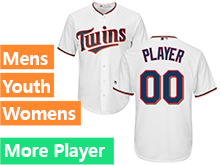 Mens Womens Youth Majestic Minnesota Twins White Cool Base Current Player Jersey