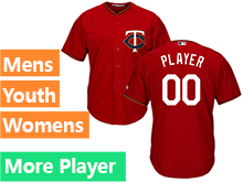 Mens Womens Youth Majestic Minnesota Twins Red Cool Base Current Player Jersey