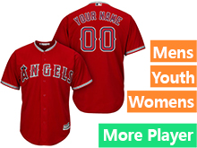 Mens Womens Youth Majestic Los Angeles Angels Red Cool Base Current Player Jersey
