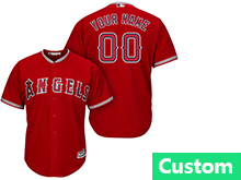 Mens Womens Youth Mlb Los Angeles Angels Custom Made Red Cool Base Jersey