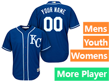Mens Womens Youth Majestic Kansas City Royals Royal Cool Base Current Player Jersey