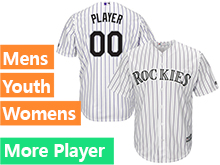Mens Womens Youth Majestic Colorado Rockies White Stripe Cool Base Current Player Jersey