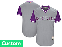 Mens Majestic Colorado Rockies Custom Made Gray 2017 Players Weekend Jersey