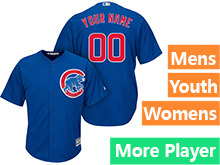 Mens Women Youth Majestic Chicago Cubs Blue Cool Base Current Player Jersey