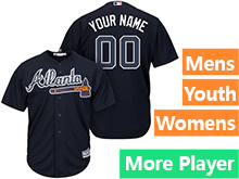 Mens Womens Youth Majestic Atlanta Braves Navy Cool Base Current Player Jersey