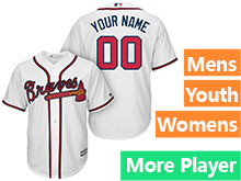 Mens Womens Youth Majestic Atlanta Braves White Cool Base Current Player Jersey