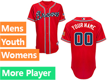 Mens Womens Youth Majestic Atlanta Braves Red Cool Base Current Player Jersey
