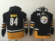 Youth Nfl Pittsburgh Steelers #84 Antonio Brown Black Pocket Team Hoodie Jersey