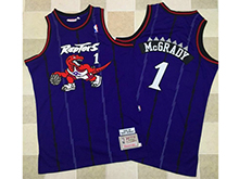 Mens Nba Toronto Raptors #1 Tracy Mcgrady Purple Hardwood Classics Thick Stitch Jersey
