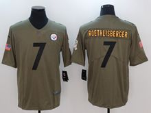 Mens Women Youth Nfl Pittsburgh Steelers #7 Ben Roethlisberger Green Olive Salute To Service Limited Nike Jersey