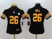 Women Youth Pittsburgh Steelers #26 Le'veon Bell Black Color Rush Limited Jersey