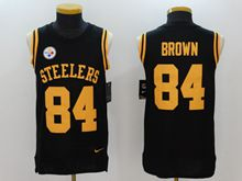 Mens Nfl Pittsburgh Steelers #84 Antonio Brown Black Color Rush Tank Top Jersey
