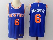 Mens Nba New York Knicks #6 Kristaps Porzingis Blue Nike Jersey