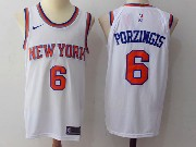 Mens Nba New York Knicks #6 Kristaps Porzingis White Nike Jersey