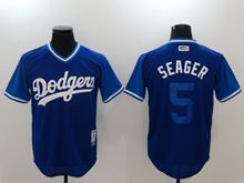 Mens Mlb Los Angeles Dodgers #5 Corey Seager (seager) Navy 2017 Players Weekend Authentic Jersey