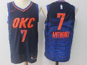 Mens Nba Oklahoma City Thunder #7 Carmelo Anthony Dark Blue Orange Number Nike Jersey